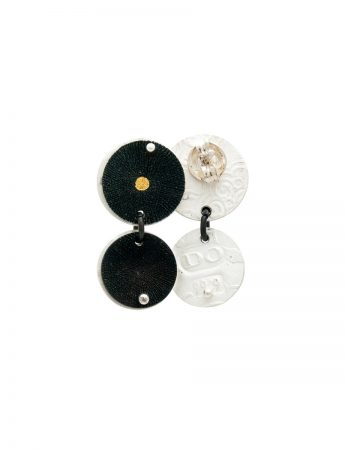 Double Disc Pendant Stud Earrings - Black & Gold