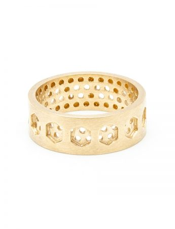 Hexagon & Round Perforation Ring - Yellow Gold