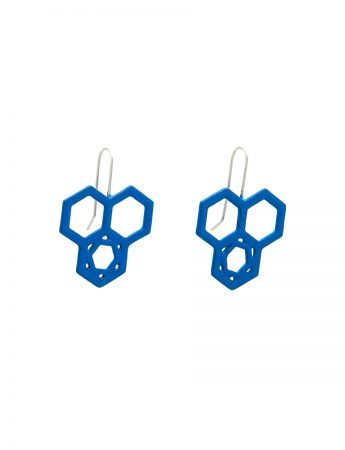 Hexagon In Hexagon Hook Earrings - Blue