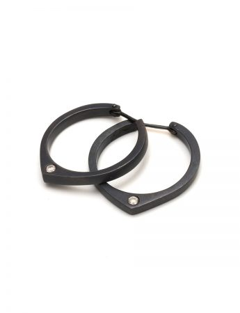 Black Knife Edge Hoop Earrings - Diamonds