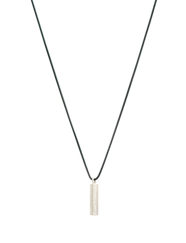 Long Rod Geo Pendant Necklace – Silver