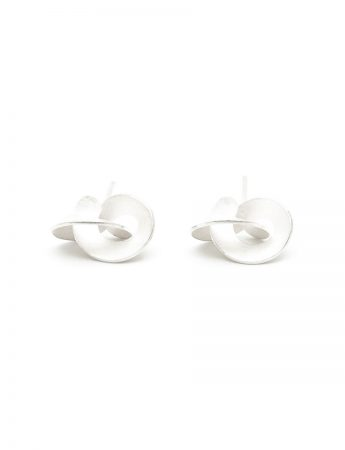 Medium Cloud Stud Earrings - Matte Silver