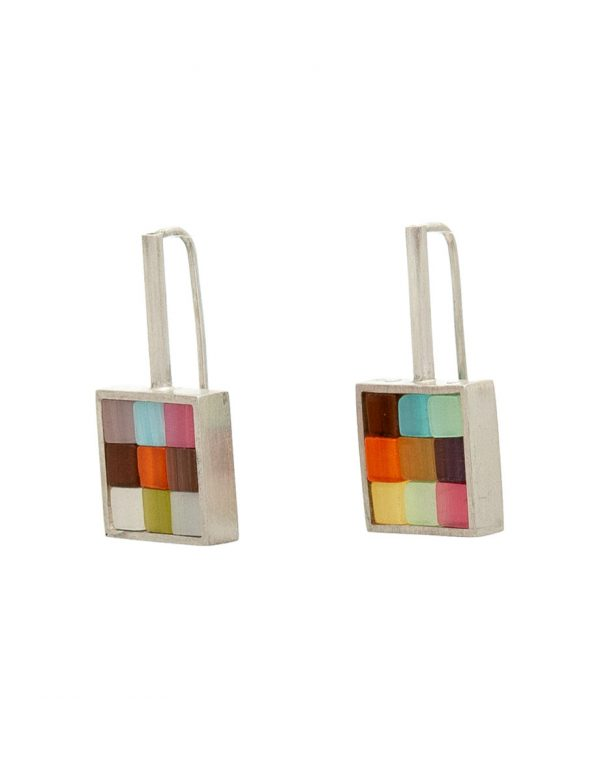 Multicoloured Patchwork Square Stack Earrings