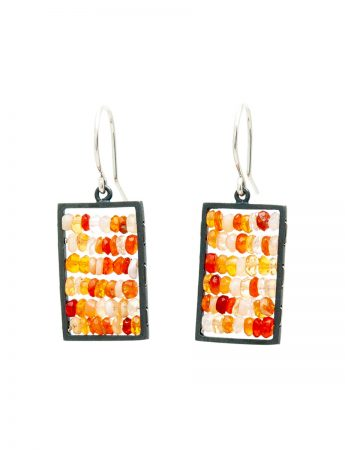 Rectangle Reef Earrings - Mexican Fire Opals