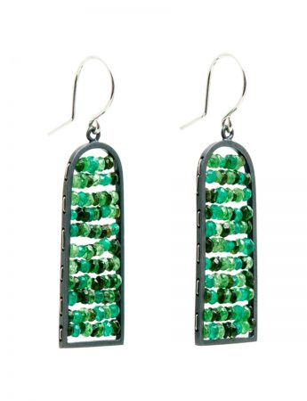 Arched Reef Earrings - Green Tourmaline, Garnet & Onyx