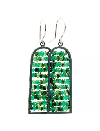 Arched Reef Earrings – Green Tourmaline, Garnet & Onyx