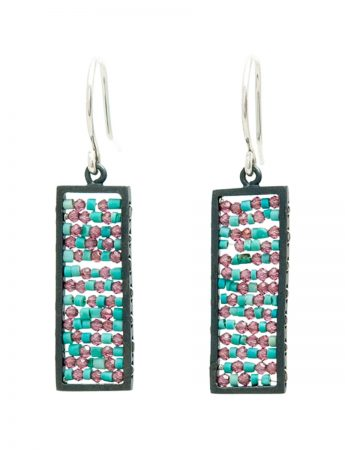 Rectangle Reef Earrings - Ruby & Turquoise