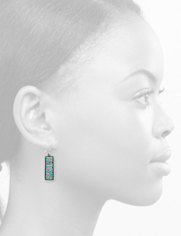 Rectangle Reef Earrings – Ruby & Turquoise