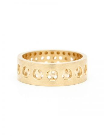 Round And Round Perforation Ring - Yellow Gold