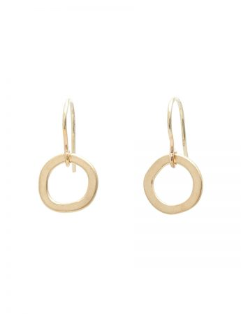 Single Link Halo Hook Earrings - Yellow Gold