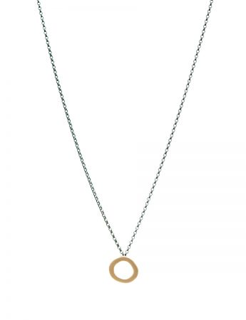 Single Link Halo Pendant Necklace - Yellow Gold