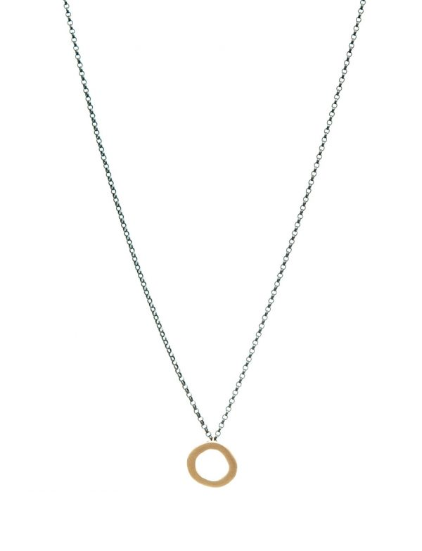 Single Link Halo Pendant Necklace – Yellow Gold