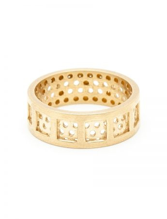 Square & Round Perforation Ring - Yellow Gold