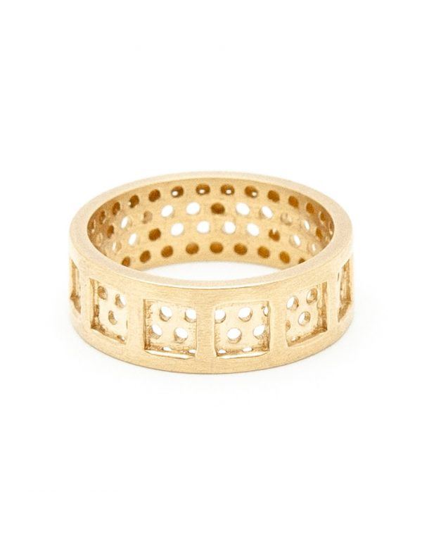 Square & Round Perforation Ring – Yellow Gold