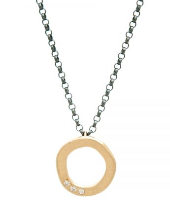 Studded Halo Pendant Necklace - Gold & Diamonds