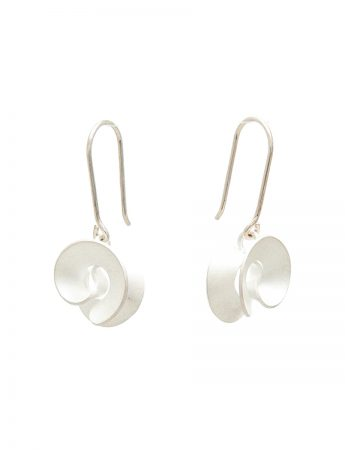 Taegeuk Cloud Hook Earrings - Silver