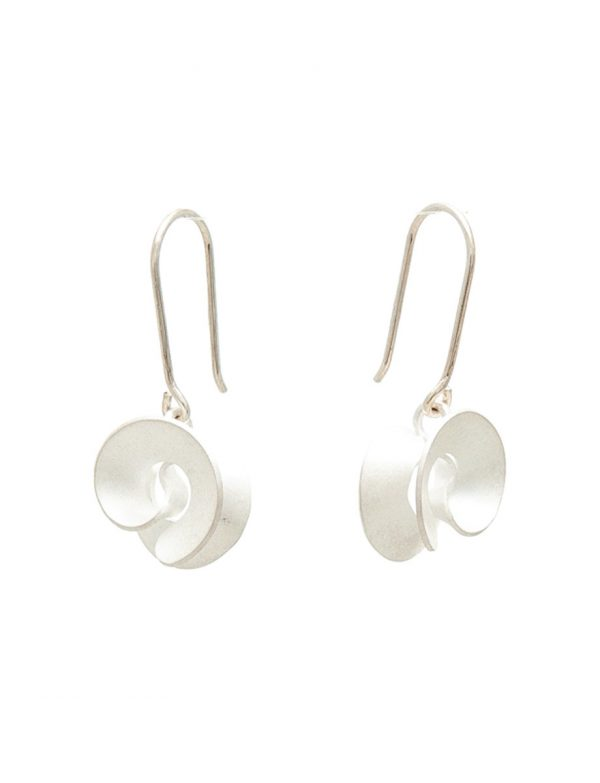 Taegeuk Cloud Hook Earrings – Silver