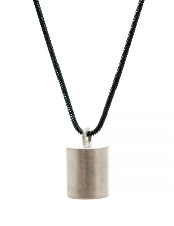 Top Cylinder Geo Pendant Necklace – Silver