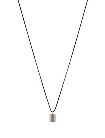 Top Cylinder Geo Pendant Necklace - Silver