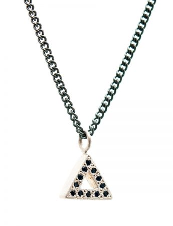 Triangle Pendant Necklace - Silver & Sapphires