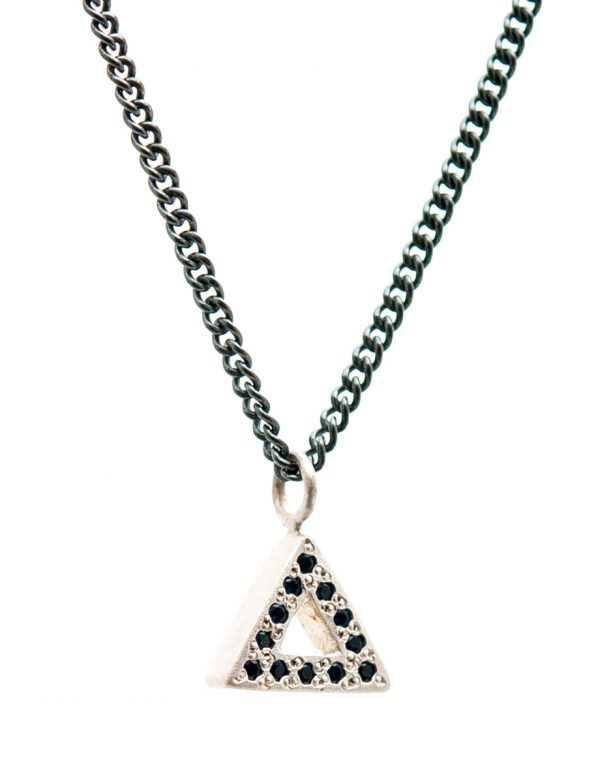 Triangle Pendant Necklace – Silver & Sapphires