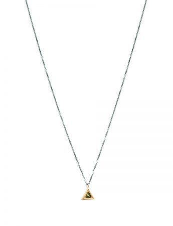 Trillion Triangle Pendant Necklace - Gold & Parti Sapphire