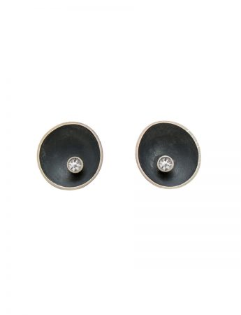 Small Blackened Sea Dish Stud Earrings – Diamond