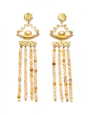 Fertile Crescent Earrings - Keshi Pearl & Quartz