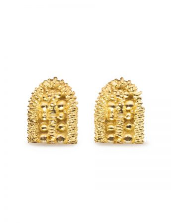 Sacred Palm Stud Earrings - Yellow Gold