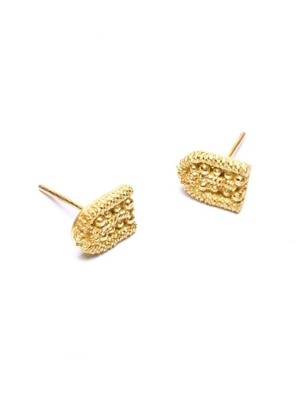 Sacred Palm Stud Earrings – Yellow Gold