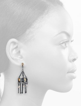 Bizancio Earrings - Black, Gold & Pearl