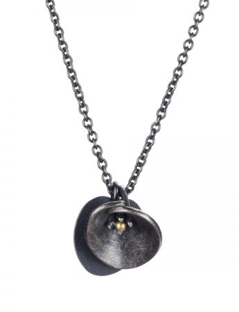Water Lily Necklace - Black & Gold