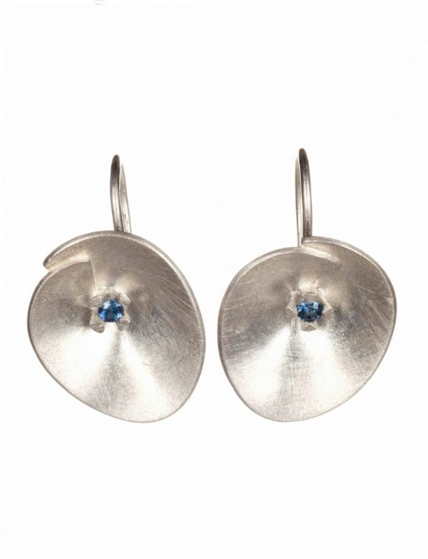 Large Silver Water Lily Earrings – Blue Sapphire
