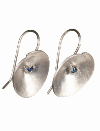 Large Silver Water Lily Earrings - Blue Sapphire
