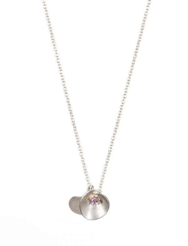 Silver Water Lily Necklace – Pink Sapphire