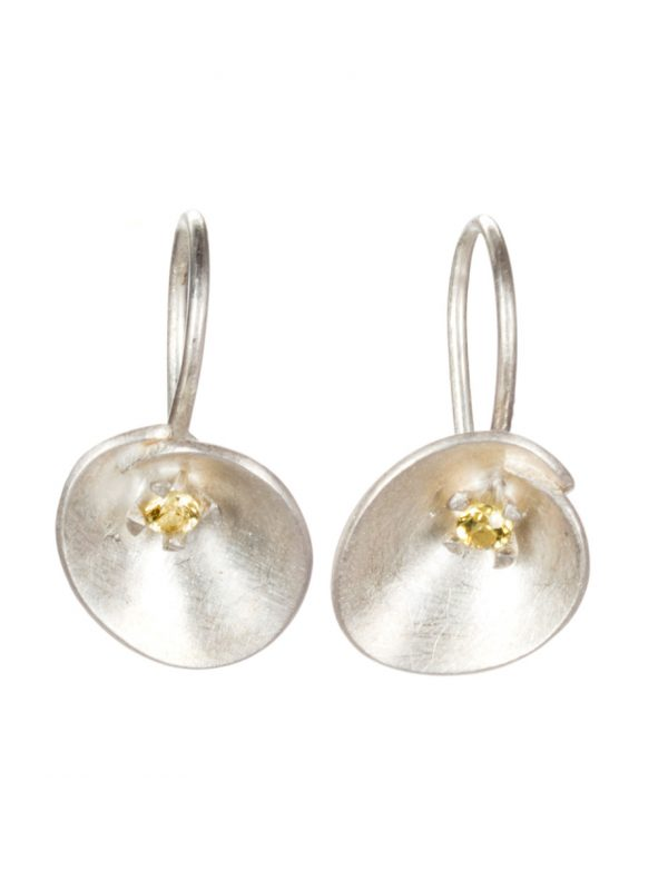 Small Silver Water Lily Hook Earrings – Yellow Sapphire