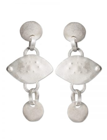 Ancient Eye Drop Stud Earrings - Silver