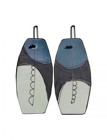 Apron Reversible Earrings - Blue & Sage Green