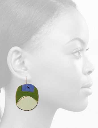 Round Apron Reversible Earrings - Green & Blue
