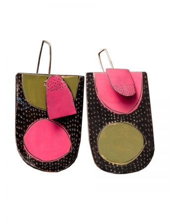 Still Life Reversible Earrings - Pink & Green