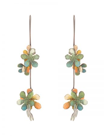 Long Jasmine Earrings - Green & Orange