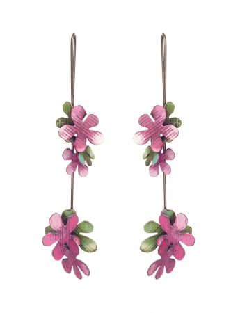 Long Jasmine Earrings - Green & Pink