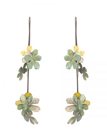 Long Jasmine Earrings - Green & White