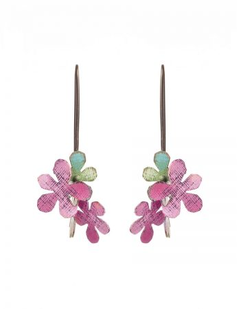 Short Jasmine Earrings - Green & Pink