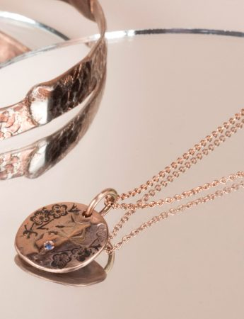 Cherry Blossom Necklace - Rose Gold & Blue Sapphire