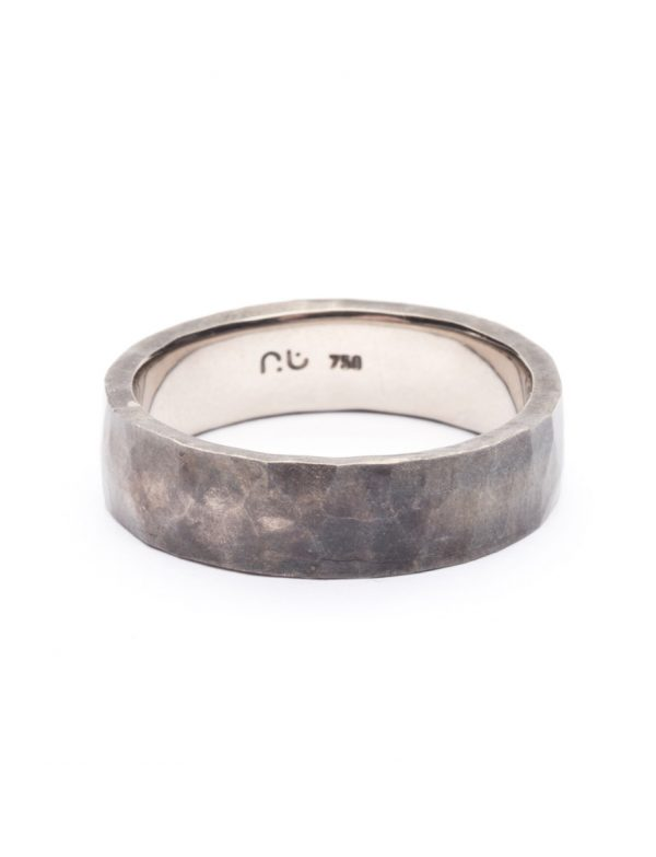 Hammered Ring – White Gold with Patina