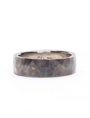Hammered Ring - White Gold with Patina