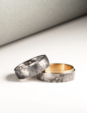 Sleeve Ring - Yellow & White Gold with Patina