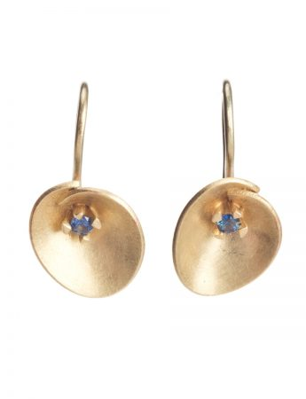 Small Water Lily Earrings - Gold & Sapphire