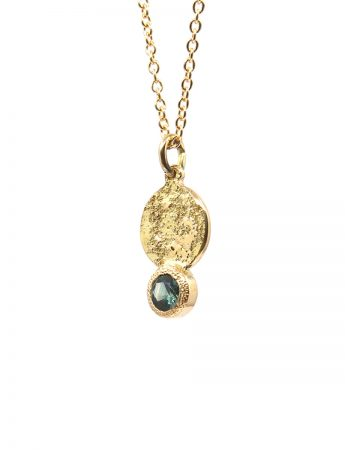 Galaxy Forces Pendant Necklace - Yellow Gold & Teal Sapphire